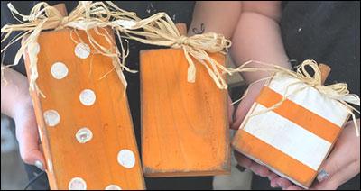 Wood Block Painted Pumpkins